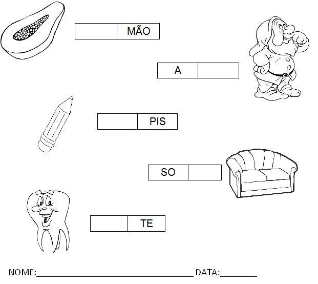 Atividades para Imprimir - Complete a sílaba