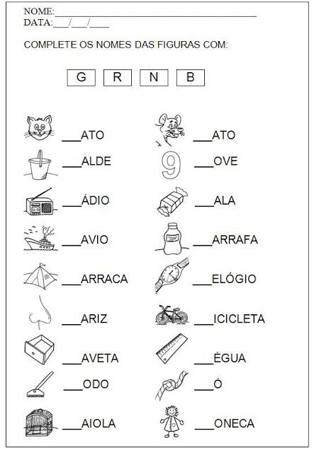 Segue algumas atividades para alfabetizar. São atividades para escrever os nomes das palavras e formar palavras a partir dos símbolos.