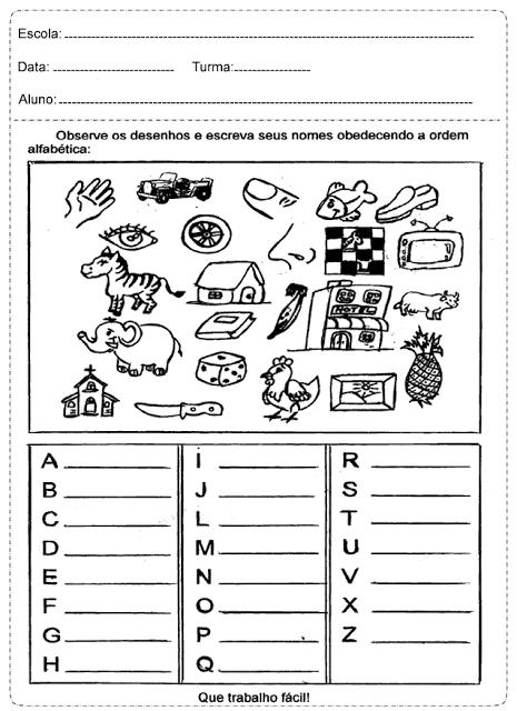 Atividades Educativas prontas para imprimir, indicadas a alunos das series iniciais para trabalhar Alfabetização.