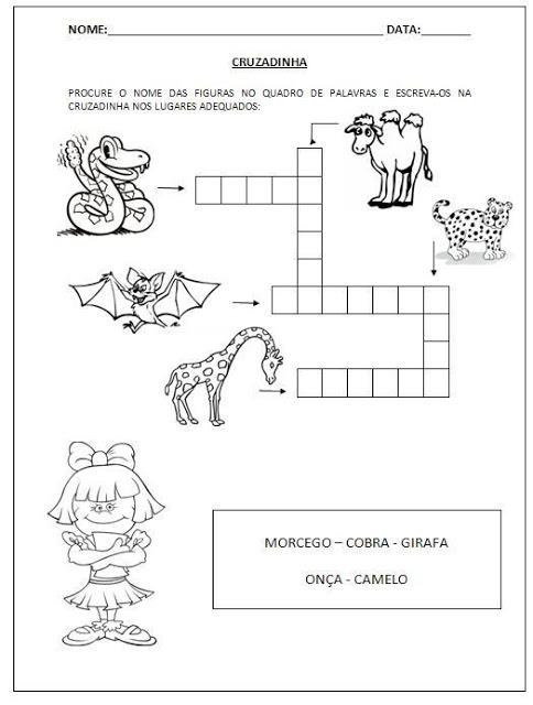 Atividades Educativas - Cruzadinhas para imprimir