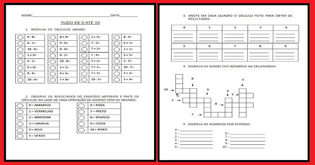 Atividades Educativas de Matemática prontas para imprimir para trabalhar numerais de 0 a 10