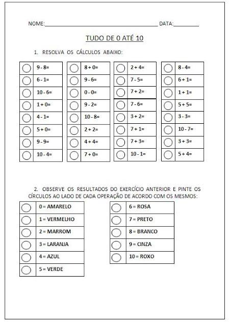 Confira Atividades Educativas de Matemática prontas para imprimir para trabalhar numerais de 0 a 10.