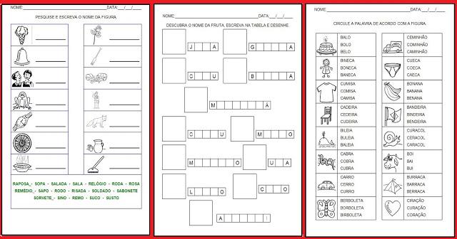 Atividades Imprimir Hipotese Escrita Silabica Alfabetica So Escola
