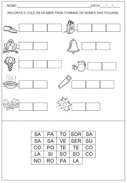 Confira algumas Atividades para imprimir - Hipótese de escrita Silábica Alfabética