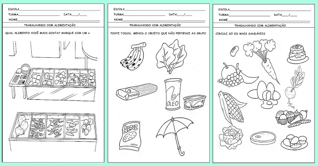"""Confira nesta postagem algumas atividades prontas para imprimir para trabalhar Alimentação saudável """"FRUTAS E VEGETAIS""""."""