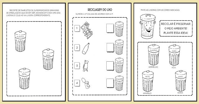Nesta postagem trago para vocês várias Atividades sobre Reciclagem do Lixo indicadas para alunos da Educação Infantil.