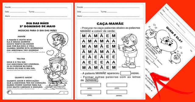 Confira várias atividades variadas para trabalhar o Dia das Mães prontas para imprimir e disponível em PDF.