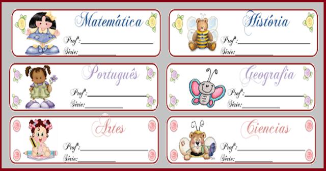 Etiquetas para uso escolar: pastas e envelopes prontas para imprimir