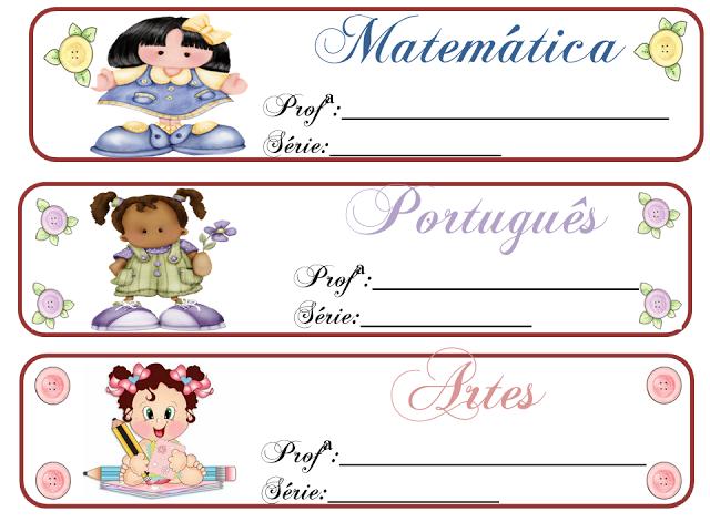 Etiquetas para uso escolar: pastas e envelopes