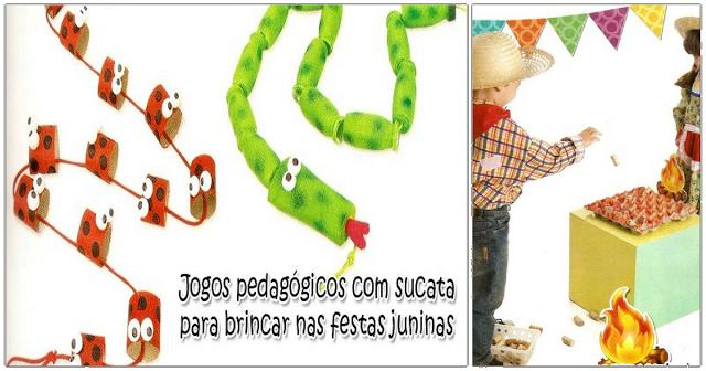 Nesta postagem trago para vocês algumas sugestões de Jogos pedagógicos para festas juninas feitos a partir de matérias reciclados.