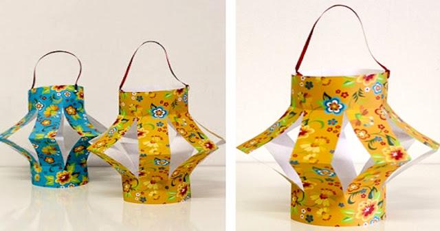 Lanternas para Festa Juninas com rolinhos de papelão