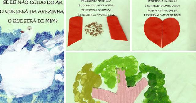 Esta é uma atividade muito legal para fazer na Semana do Meio Ambiente. Faça uma página por dia e no fim da atividade, cada criança leva seu livrinho pra casa. Para fazer, use técnicas variadas como colagem, carimbo das mãos, origami…