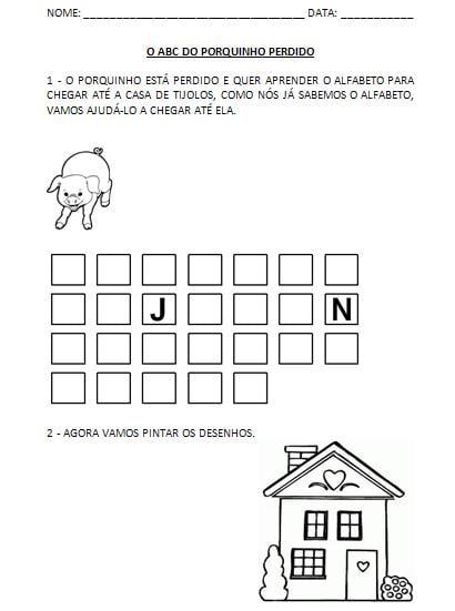 Atividades para completar o alfabeto para imprimir