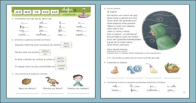 Atividades Educativas - AZ, EZ, IZ, OZ, UZ para imprimir