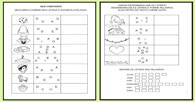 Confira duas atividades de desembaralhar as letras e formar as palavras, são ótimas para o processo de alfabetização.