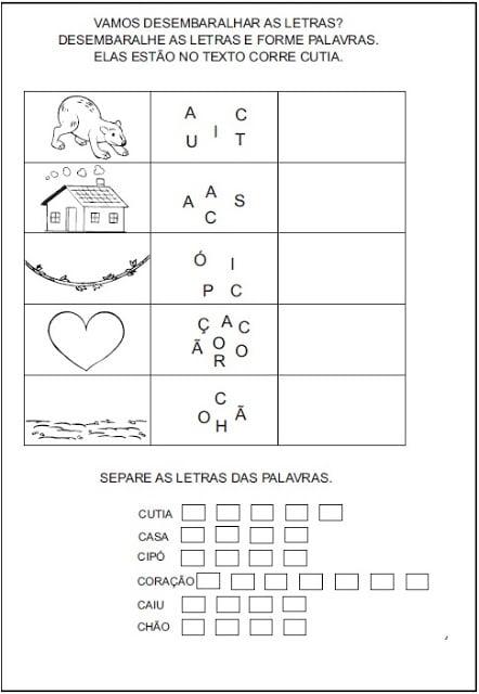 Atividades para Imprimir - Forme as palavras