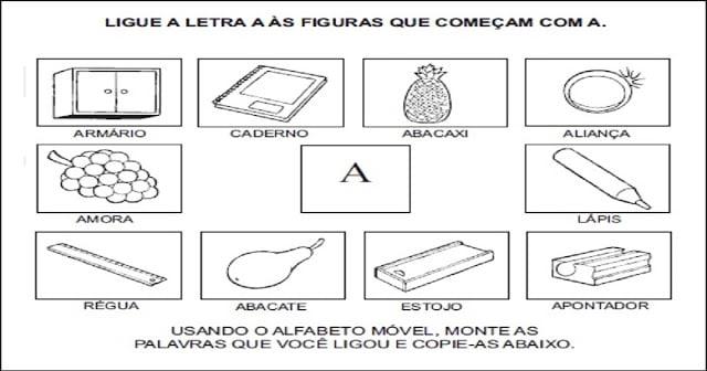 Atividades para Alfabetização - Ligue a figura na letra inicial