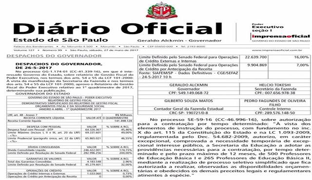 Saiu no Diário Oficial a autorização do Governador para contratação de 765 professores temporários