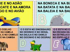 Alfabetário com texto em cada letra
