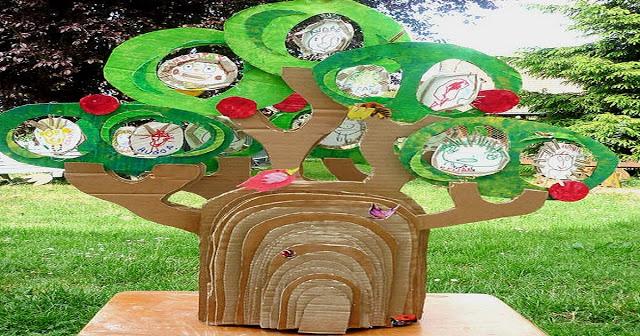 Meio Ambiente – Árvore com reciclagem de papelão