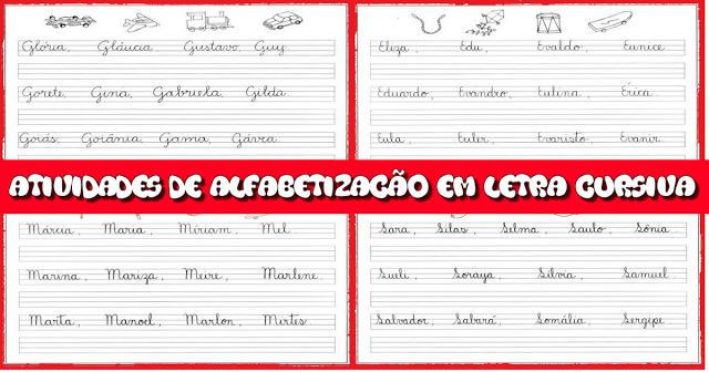 Atividades de alfabetização em letra cursiva