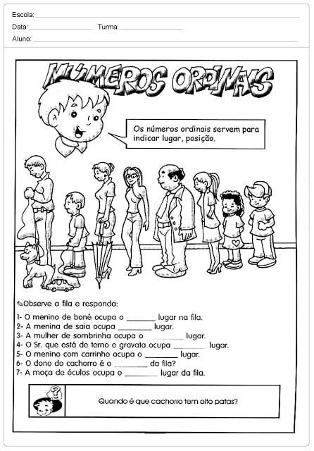 Atividades Com Numeros Ordinais Para Alfabetizacao Observe A Fila