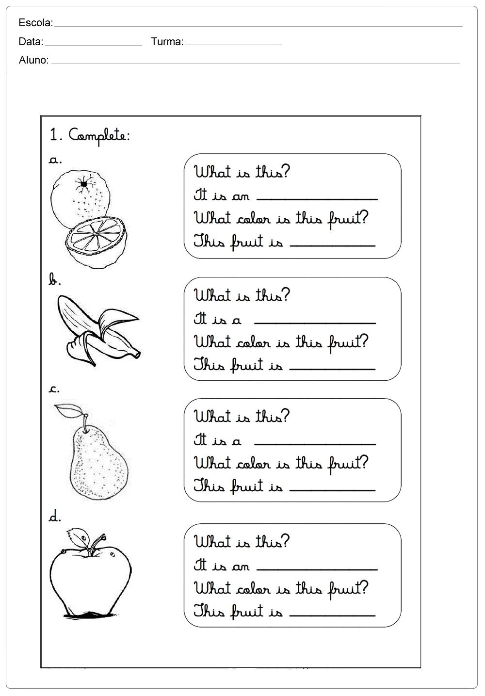 Atividades de Inglês para Imprimir