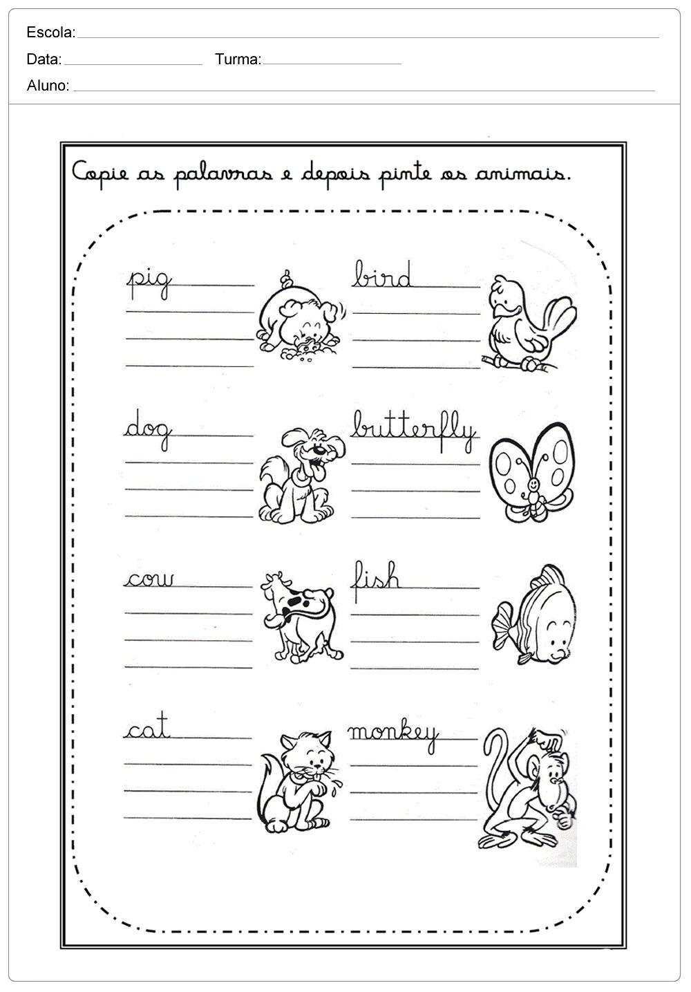 Atividades De Ingles Para Imprimir Para Series Inicias