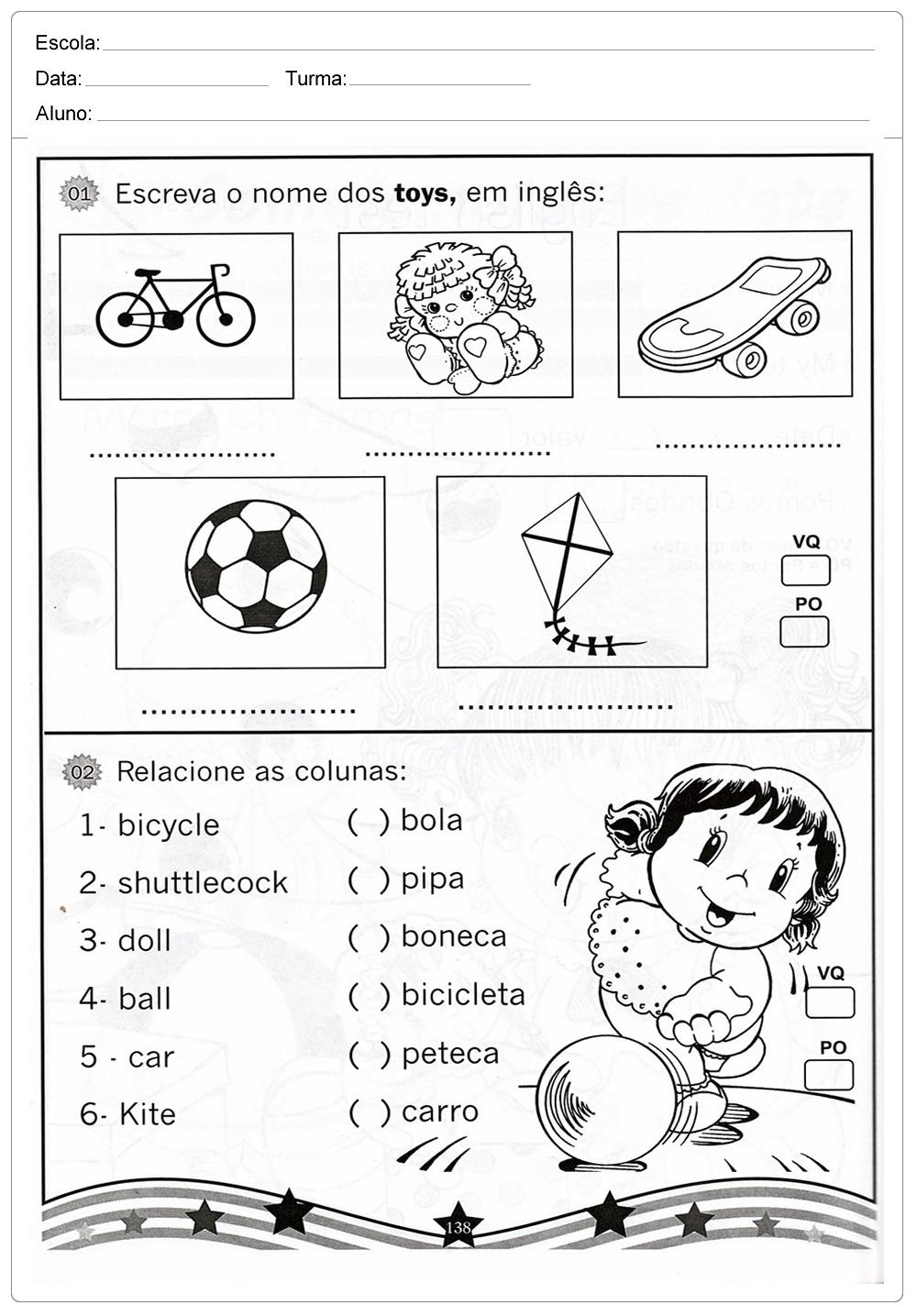 Favoritos Atividades de Inglês para imprimir - Para series inicias RN07