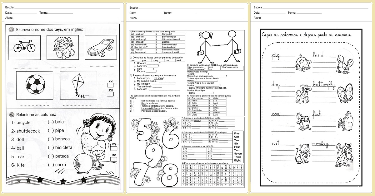 Suficiente Atividades de Inglês para imprimir - Para series inicias RP43