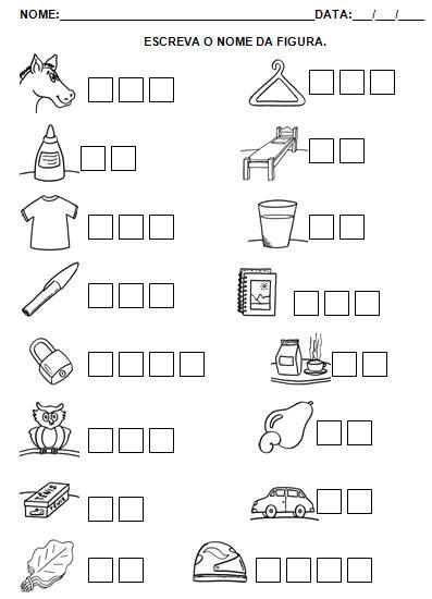 Atividades para Imprimir - Hipótese de escrita silábica sem valor sonoro