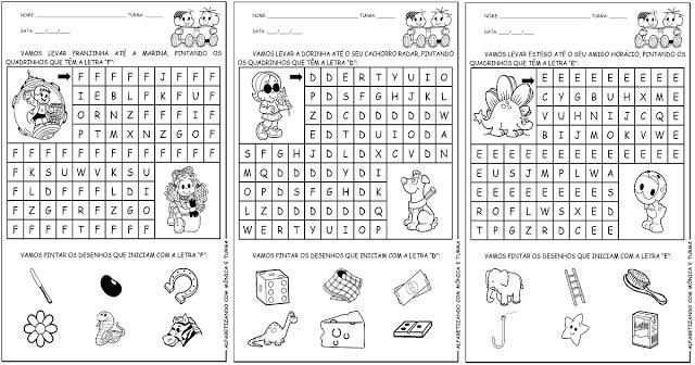 Atividades com Alfabeto: Letras D, E, F