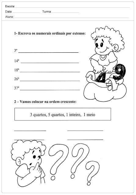 Atividades educativas para trabalhar números ordinais com alunos do primeiro ano do Ensino Fundamental.
