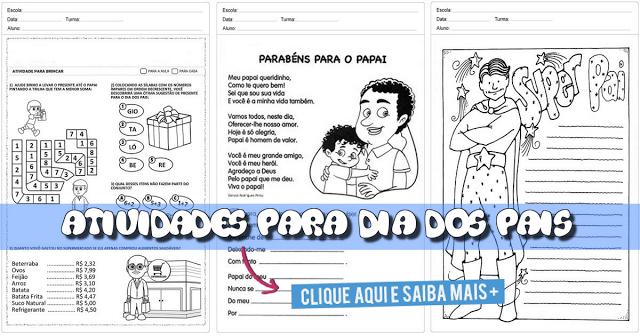 Atividades para trabalhar o dia dos pais com alunos do Ensino Fundamental.