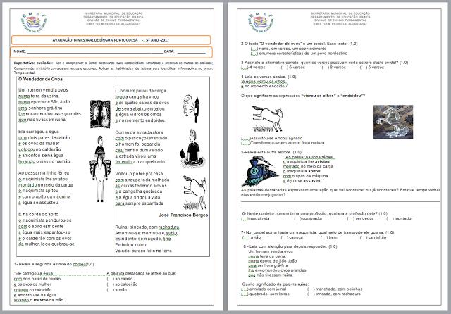 Avaliação pronta para imprimir e disponível em modelo editável (word) para baixar, indicado a alunos do 5º ano do Ensino Fundamental.