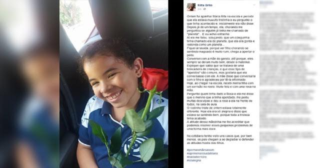 Após ser apelidada na escola, menina de 7 anos ganha rosas como pedido de desculpas