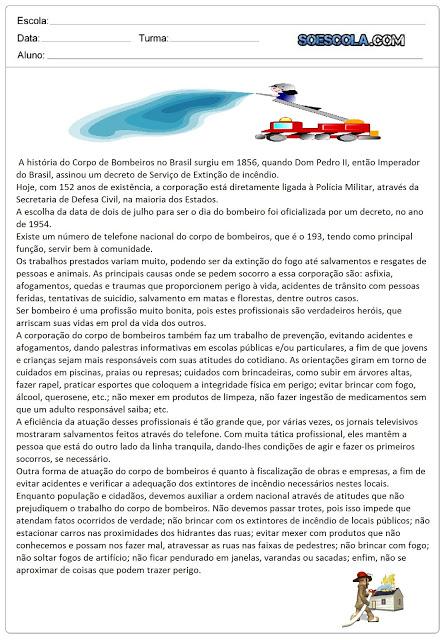 Texto para Imprimir - Dia do Bombeiro: 02 de Julho
