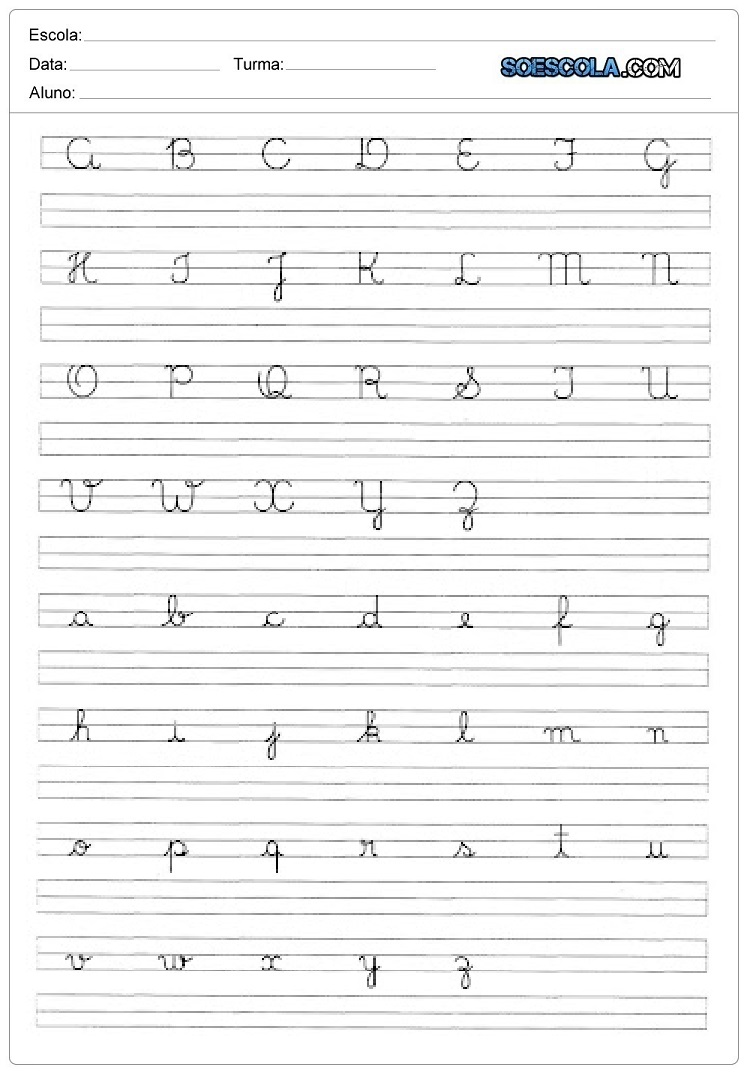 Caligrafia do alfabeto com letras cursivas - Alfabeto Cursivo para imprimir com Letras maiúsculas e minusculas