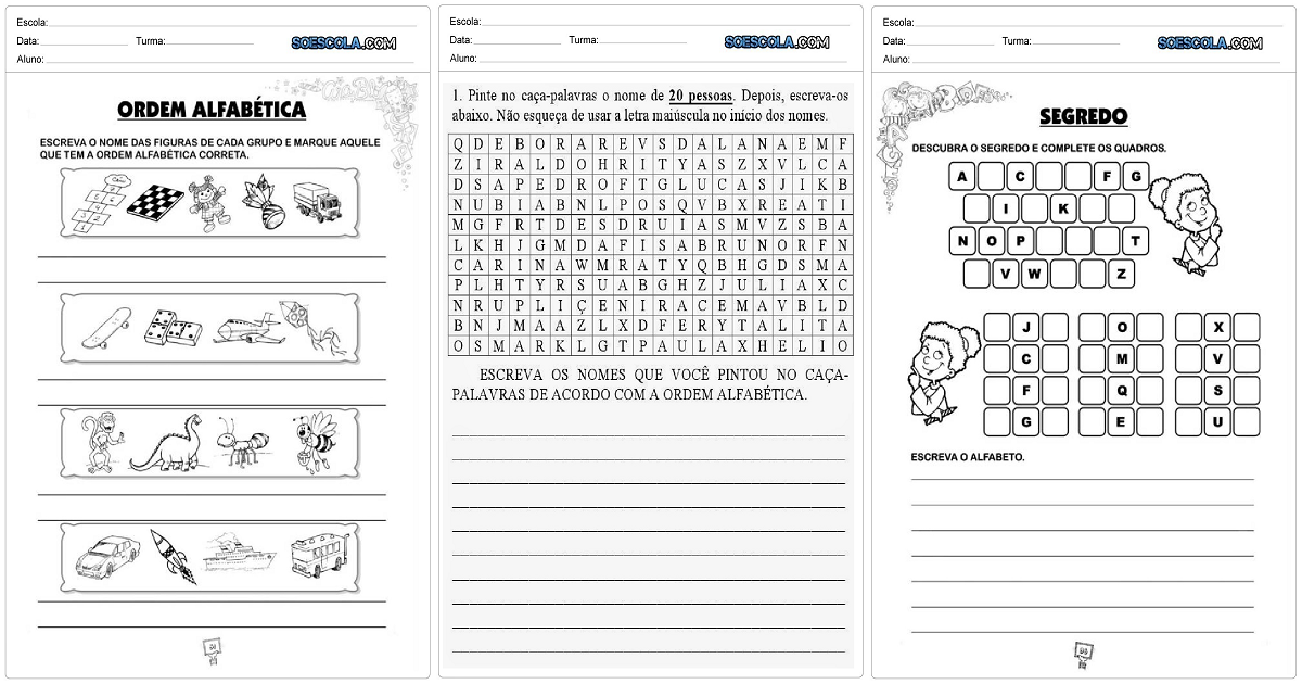 Confira nesta postagem atividades educativas de português sobre ordem alfabética pronta para imprimir e aplicar em sala de aula.