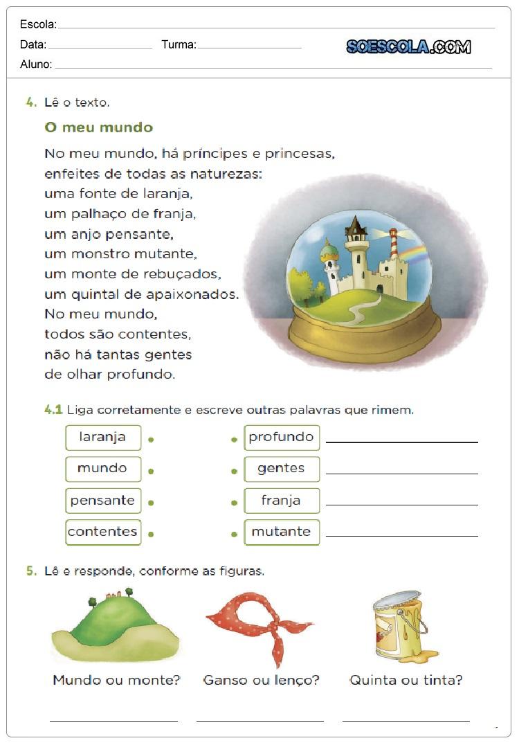 Atividades para Alfabetização com An, En, In, On, Un para imprimir