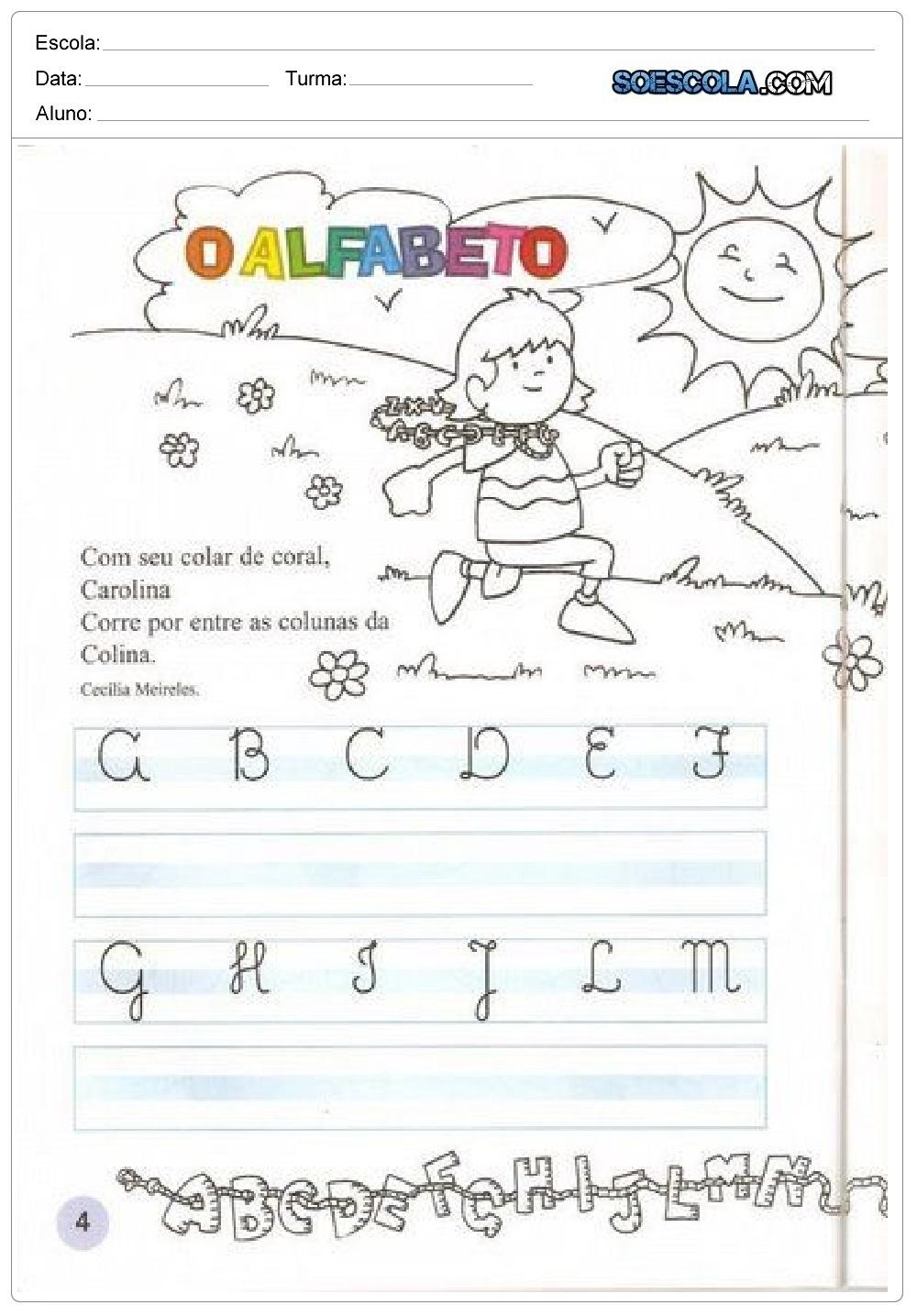 Confira nesta postagem atividades prontas para imprimir para trabalhar a escrita das letras do alfabetocursiva, com alunos das series iniciais.