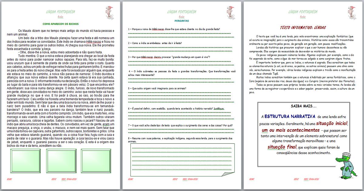 88618311eb25 Apostila LENDAS para trabalhar o Folclore na língua portuguesa