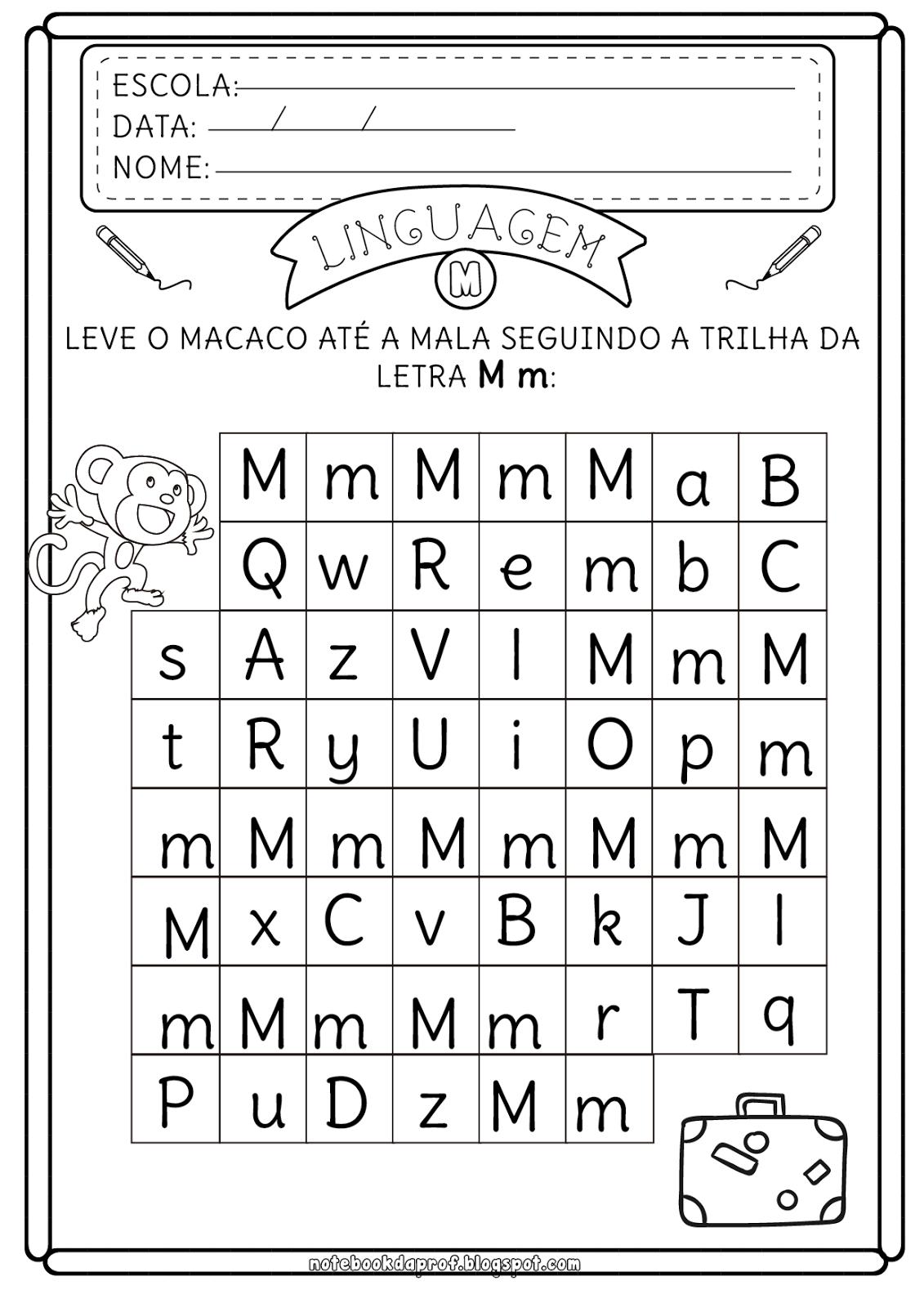 Atividades com letras M para trabalhar o conhecimento da grafia