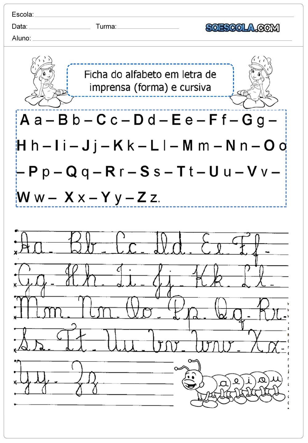 Caligrafia do alfabeto com letras cursivas - Alfabeto Cursivo para imprimir