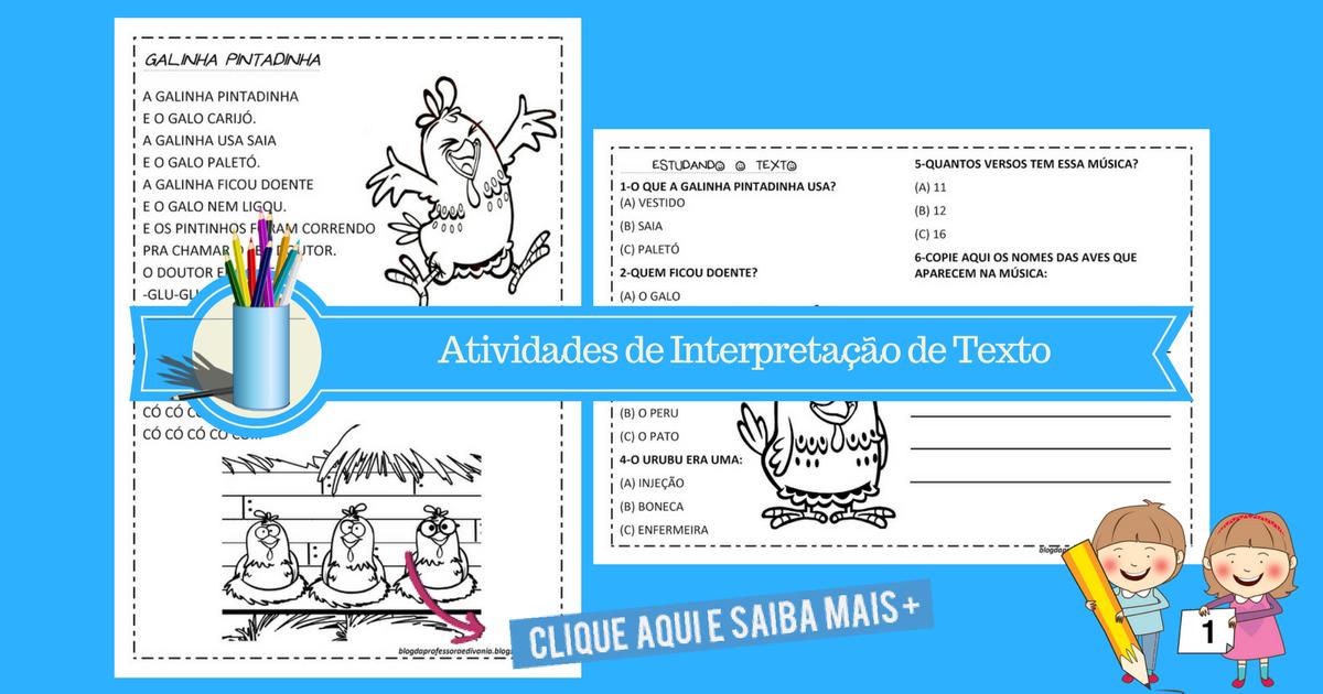Atividades de Interpretação de Texto da Galinha Pintadinha para imprimir