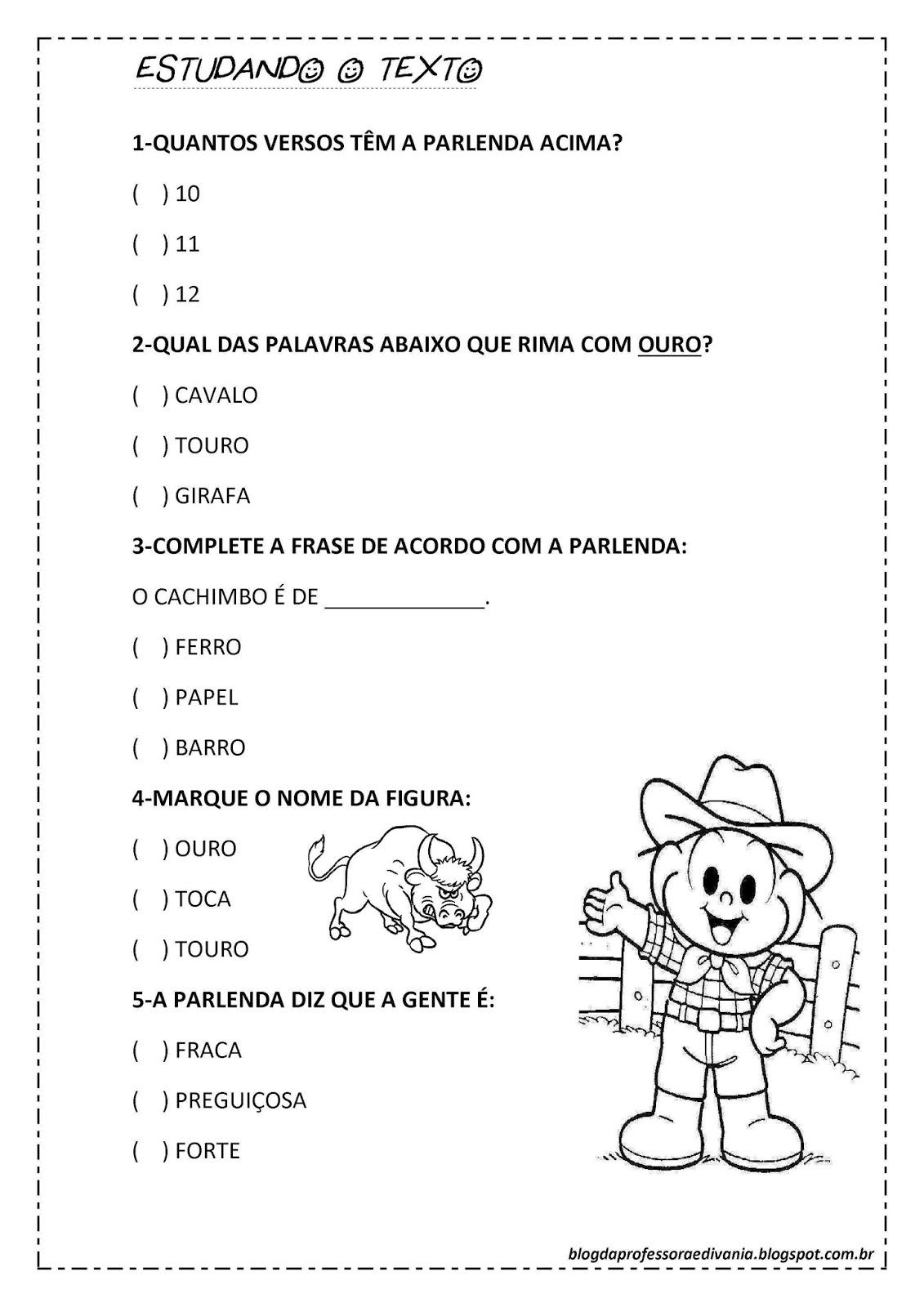 Atividades Folclóricas para imprimir: Parlendas, Trava-Língua, Ditado Recortado, Complete a frase e mais...