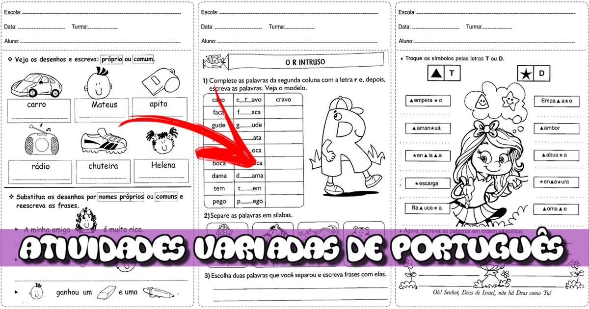 Atividades Variadas de Português para 3º ano do Ensino Fundamental