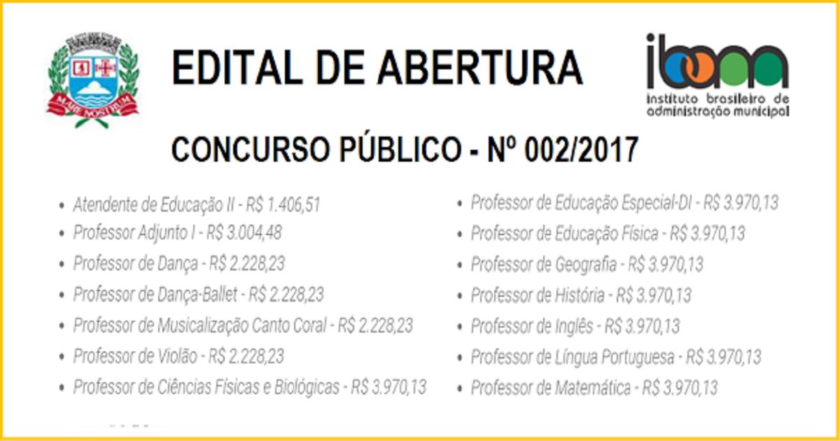 Concurso Público para professores com inscrições abertas.