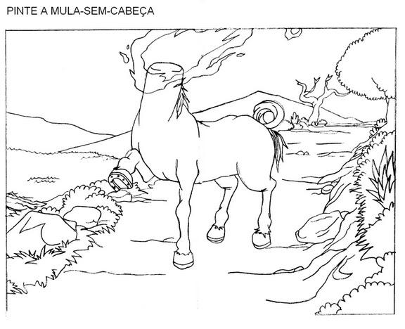 Desenhos do Folclore brasileiro para imprimir e colorir: Mula Sem Cabeça