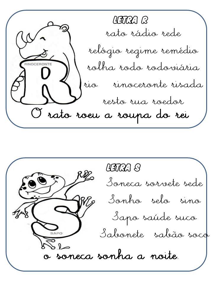 Fichas de Leitura com Letras Cursivas